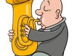 Trumpeter with tuba cartoon vector 4545228