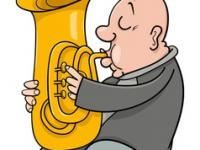 Trumpeter with tuba cartoon vector 4545228
